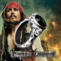 Pirates of the Caribbean Jack Sparrow death's head human skull finger ring vintage emerald stone Curse Gold party men male gift