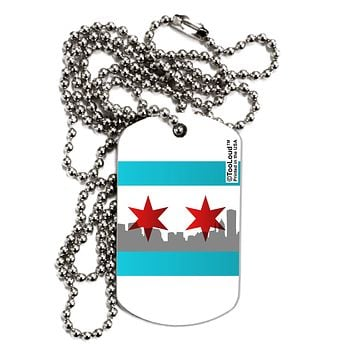 Chicago Flag Skyline AOP Adult Dog Tag Chain Necklace