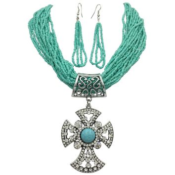Large Rhinestone Cross Simulated Turquoise Western Look Silver Tone Necklace & Earrings Set