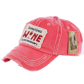 Coral Red Wine Message Patch Baseball Cap
