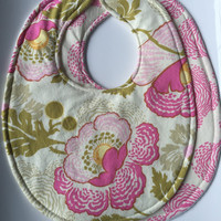 Baby Girl Bibs Set (2) -Midwest Modern Amy Butler - Triple Layer Bibs, Your Choice Velcro or Snap Closure
