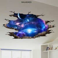 [SHIJUEHEZI] Universe Galaxy 3D Wall Stickers Vinyl DIY Milky Way Mural Decals for Kids Rooms Toilet Floor Ceiling Decoration