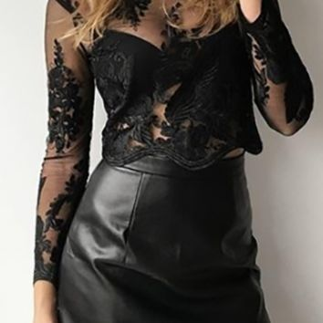 Going For It Black High Waisted Faux Leather Mini Skirt