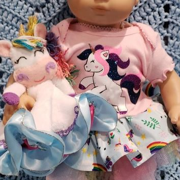 "15 inch baby doll lovey blankie blanket ""Unicorn Face Lovey"" security blanket"