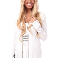 Ivory Long Sleeve V Neck Top