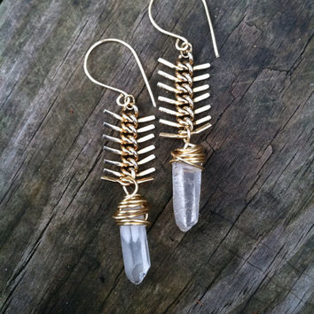 Fishbone Chain Dangle Earrings Raw Quartz Drop Earrings Rustic Jewelry Wire Wrap Earrings DanielleRoseBean Long Fishbone Dangle Earrings