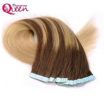 CREY78W #4/18/4/18 Color Tape In Human Hair Extensions Brazilian Straight Hair Skin Weft  Remy Hair 50g 20pcs/Set  Dreaming Queen Hair