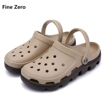 Fine Zero Unisex Summer Sandals Men Casual Shoes Mules Clogs big size 47 Beach Slippers Male Water Hollow Jelly Chaussure Homme