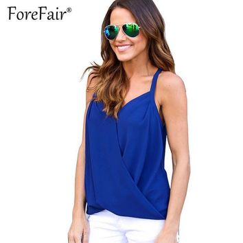 PEAPONHS Forefair Summer Blusas Women Top Backless Stitch Chiffon Sheer T-shirt Crisss Cross V Neck Tops 2017 Sexy Halter Vest