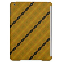 Striped Modern Abstract in Black, Gold, and Olive iPad Air Cover