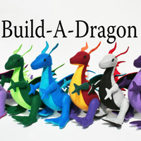 Build-A-Dragon, Fantastical Handmade Eco-Fi Felt Stuffed Dragon, Custom Plush Toy Dragons, Made to Order, Kids, Fantasy