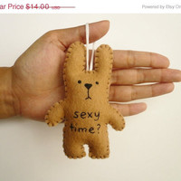 Christmas in July 20% OFF Christmas ornament funny bunny - Sexy time