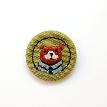 Hand Embroidered Bear Brooch / Bear Brooch Pin / Animal Brooch Pin / Handmade Brooch Pin