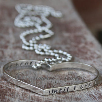 I'll hold you in my heart until I can hold you in Heaven-Sterling Silver hidden message pendant necklace-Secret message-Remembrance Jewelry