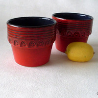 Pair of red Ceramic planters by Jasba Keramik, 1970's WGP planters  N077 22 14