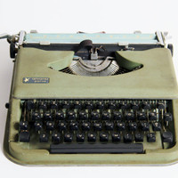 Vintage Typewriter 9.95 SHIPPING, Antares Parva, olive green turquoise retro mad men mid century