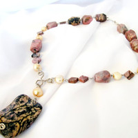 Pink gemstone necklace, pearls and pink rhodonite statement necklace, tribal chunky bead necklace