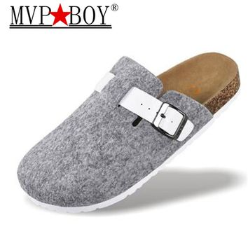 MVP BOY Plus size 36-44 New Men Shoes Cork Shoes Casual Sandals Flats Slides male Closed Toe Sandals Buckle Slippers Black Red