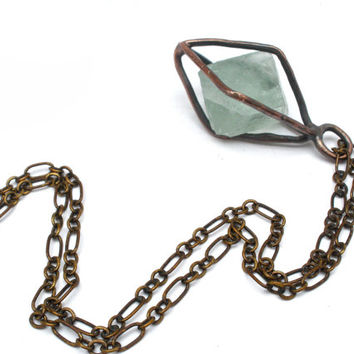 Caged Natural Fluorite Octahedron Crystal Necklace in Earth Toned Copper- Gemstone Pendulum or Amulet in Pale Mint Green