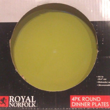 Royal Norfolk Stoneware Dinner Plates Set of 4 Solid Green 10.5 inch New in box