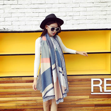 2016 Design Fashion Geometric Colors Patchwork Women Scarf Houndstooth Wraps,Classic Tassel Female Cotton Scarf Shawls Pashmina