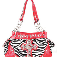 Western Red Zebra Cross Rhinestone  Handbag M