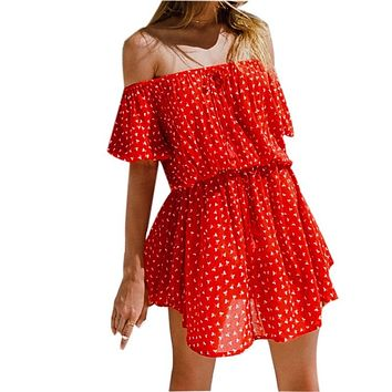 Sexy Red Polka Dot Off Shoulder Women Tunic Beach Dress Swim Suit Cover Up Summer Fashion Mini Dress pareos palge sarongs  Q591