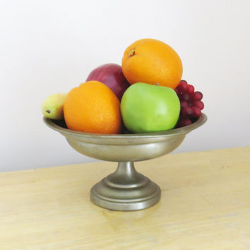 Vintage footed pewter bowl on pedestal - International Pewter pewter fruit bowl catch-all bowl bathroom decor