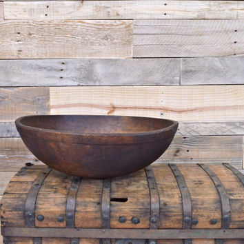 LARGE Antique Wooden Bowl, Dough Bowl, Decorative Wood Bowl, Hand-Turned, Solid Wood