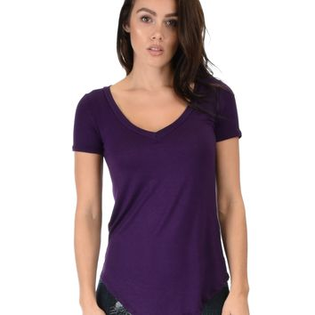 Lyss Loo Truly Madly Deep-V Neck Purple Tunic Top
