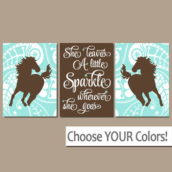 GIRL HORSE Wall Art, COWGIRL Bedroom Decor, Baby Girl Nursery Artwork, Canvas or Prints, She Leaves A Little Sparkle, Paisley, Set of 3