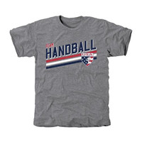 USA Team Handball Team Triple Stripe Tri-Blend T-Shirt - Ash