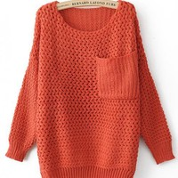Round Neck Orange Sweater with Pocket$45.00