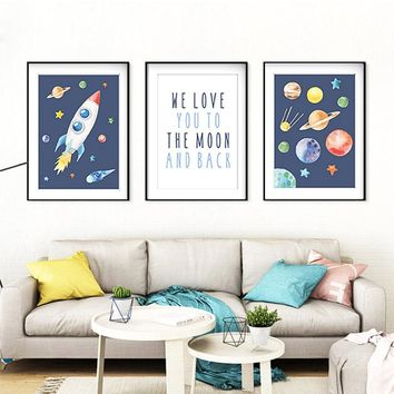 Modern Canvas Art Wall Art Love You To The Moon and Back Space Themed Baby Boy Gift Blue Nursery Kid Room Decor Poster Picture