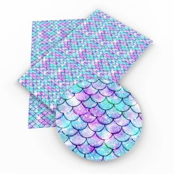 Blue & pink mermaid scale faux leather fabric sheet