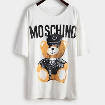 Moschino Summer Fashion Women Short Sleeved Teddy Bear Cute Cartoon T-shirt Pullover Top White