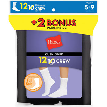 Hanes Womens Cushion Crew Socks Black 12-Pack (Includes 2 Free Bonus Pairs)