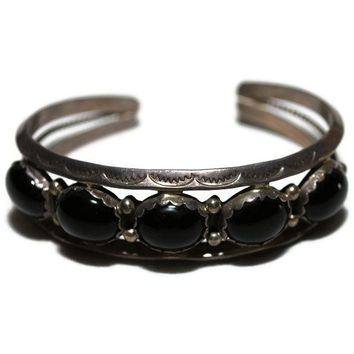 Vintage Native American Sterling Silver and Onyx  Cuff Bracelet-ETSY TREASURY