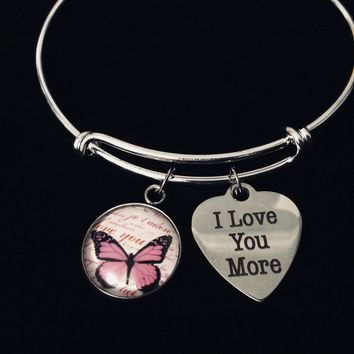 I Love You More Pink Butterfly Jewelry  Silver Expandable Charm Bracelet Adjustable Bangle One Size Fits All Gift