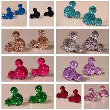 10 crystal colored Mickey Mouse stud earrings