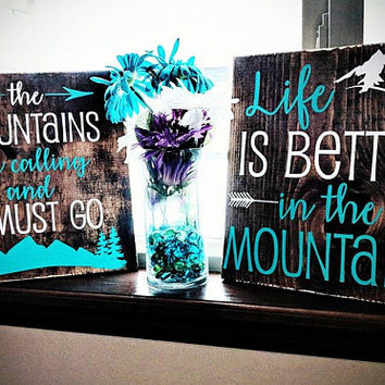 Mountain Adventure Quote Wood Sign Decor Set, Birthday Gift for Her, Mother's Day Gift for Mom, Rustic Boho Home Decor, Friend Moving Away