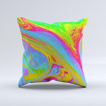 Neon Color Fushion V6  Ink-Fuzed Decorative Throw Pillow