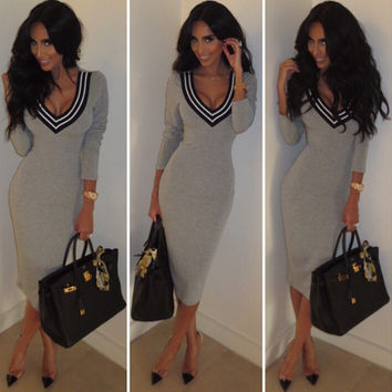 Knit Fashion Stylish Women's Fashion Deep V V-neck Club Long Sleeve One Piece Dress = 5861490049