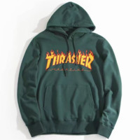 """""""THRASHER"""" Fashion Casual Women High Quality  Print Flame Movement  Hooded Sweater"""