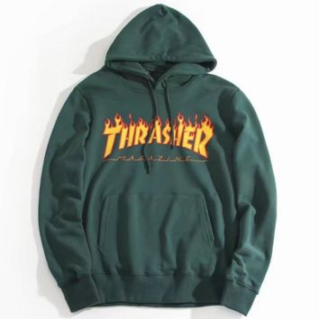 """THRASHER"" Fashion Casual Women High Quality  Print Flame Movement  Hooded Sweater"