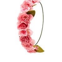 Pink Combo Wired Rose Flower Crown by Charlotte Russe