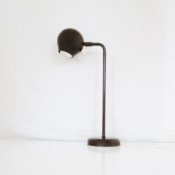 Vintage Kovacs Eyeball Desk Lamp Mid Century Adjustable Eyeball Desk Lamp Gooseneck Lamp Vintage Industrial Lamp Table Lamp Ball Lamp Brown