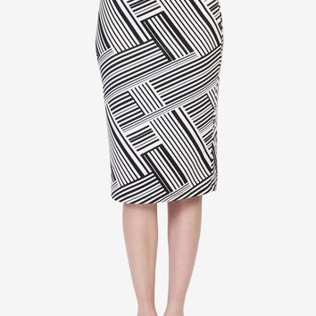 Abstract Stripped Pattern Pencil Skirt