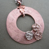 Metal Clay Open Circle Flower Pendant Necklace, PMC