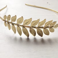 ATHENA Grecian Headband with Single Leaf in 24k Gold Plate